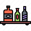 bar, bottle, club, counter, pub, shelf