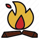 bonfire, charcoal, fire, hot, wood icon