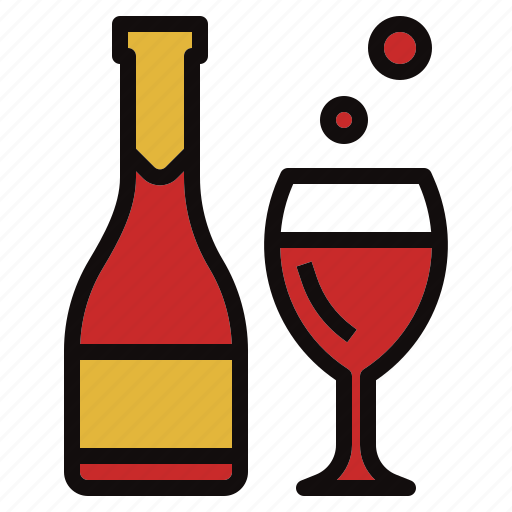 bottle, glass, party, wine icon