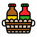 basket, bottle, condiment, condiment basket, sauce