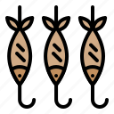 barbecue, bbq, fish, food, meat, skewer icon