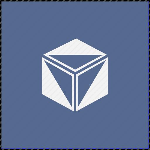 blue, box, cube, figure, model, square icon