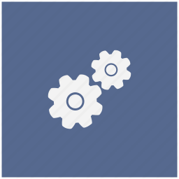 blue, engine, gears, mechanism, settings, square icon