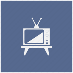 antenna, blue, old, set, square, tv icon