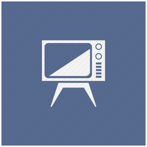 blue, old, screen, set, square, tv icon