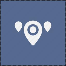 blue, geo, map, pointer, region, square icon