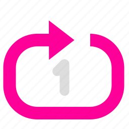 arrow, loop, play, sort icon