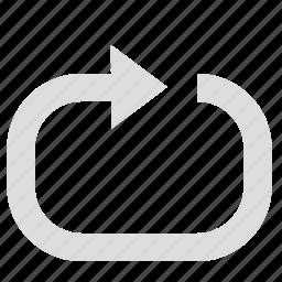 arrow, loop, play, sort icon