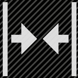 abridge, adjustment, contract, shrink, width icon