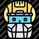 catcher, mask, helmet, protective, shield