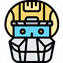 catcher, mask, helmet, protective, shield icon