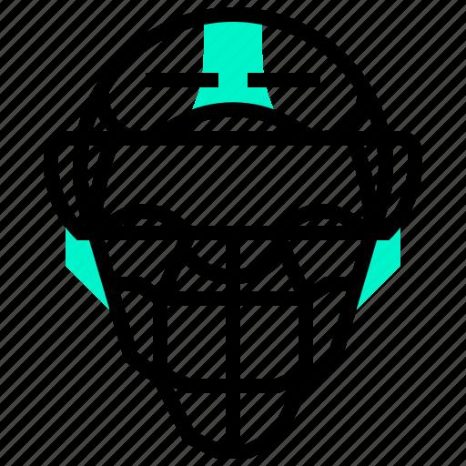 baseball, hat, helmet, mask, protection, sport icon