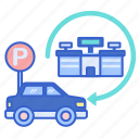 ballpark, car, parking, transport