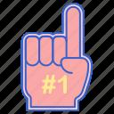 fan, finger, foam, hand icon