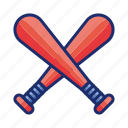 baseball, bats, two icon