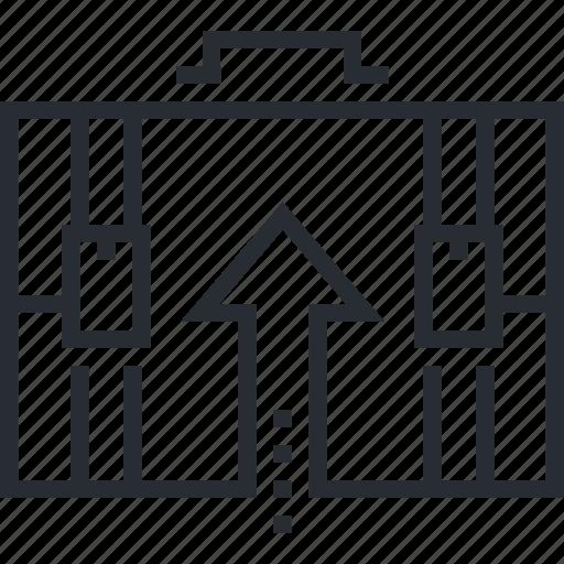 business, consulting, line, pixel icon, portfolio, thin, upload icon