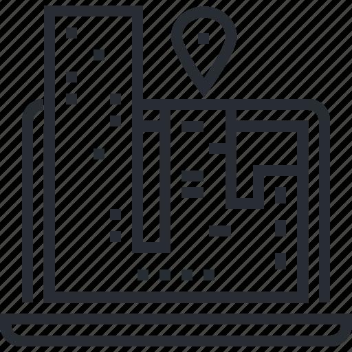 contact, destination, gps, location, navigation, pixel icon, thin line icon
