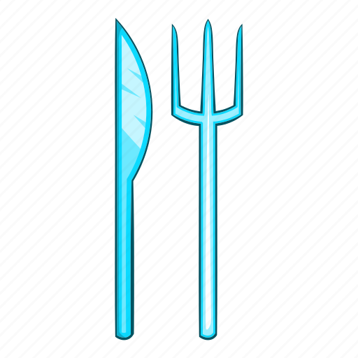 cartoon, cutting, dinner, fork, knife, meal, sticking icon