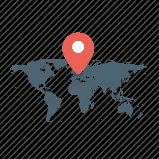 address, basic, business, ecommerce, location, map, world map icon