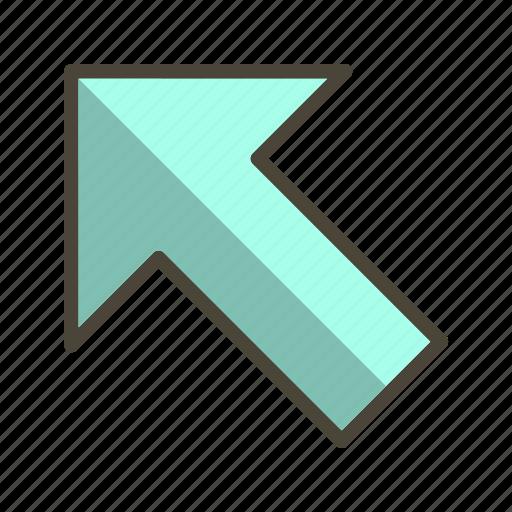arrow, cursor, direction, left up icon