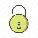 acess, lock, open, unlock icon