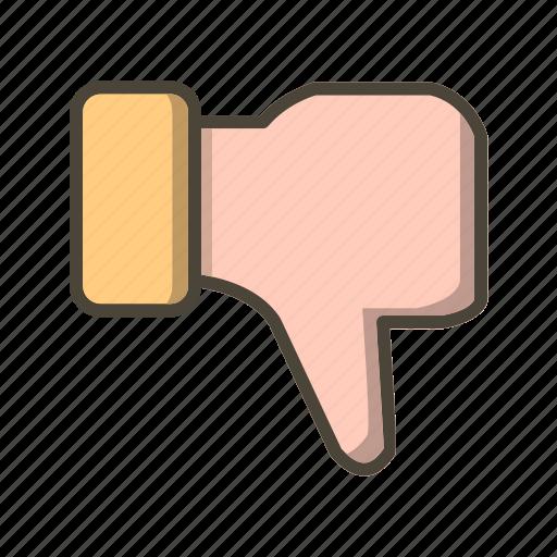 basic elements, dislike, gesture, hand, thumbs down icon