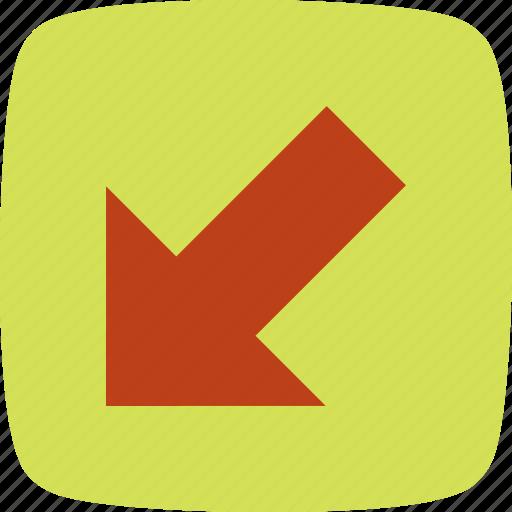 arrow, direction, left down icon