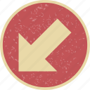 arrow, direction, left down icon