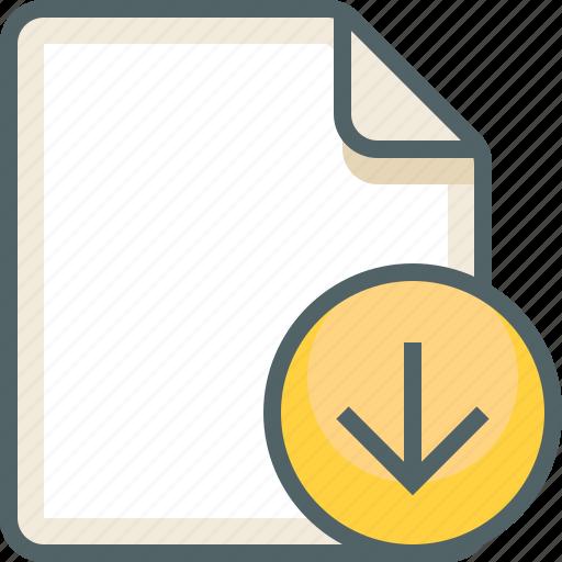 arrow, down, file icon