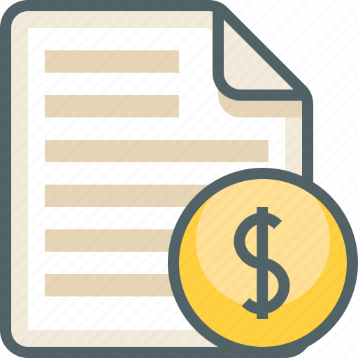 dollar, file, list, menu icon