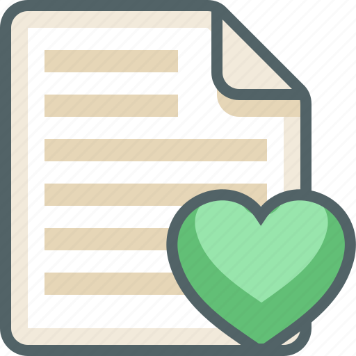 file, heart, list, menu icon