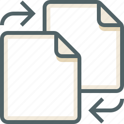 exchange, file, two icon