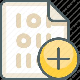 add, binary, create, extension, file, new, plus icon