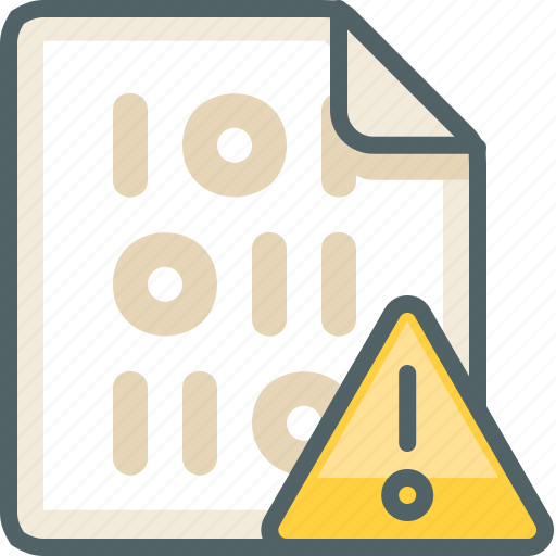 alert, binary, caution, danger, extension, file, warning icon