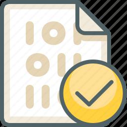 accept, binary, check, file, mark, ok, tick icon