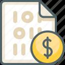 binary, dollar, file, currency, money, finance, cash icon