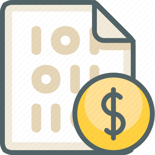 binary, cash, currency, dollar, file, finance, money icon