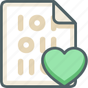 binary, extension, file, heart, love, romantic, valentine icon