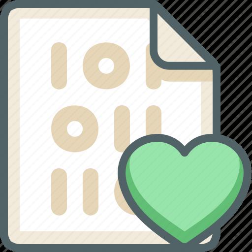 binary, extension, file, heart, love, romantic, valentine icon