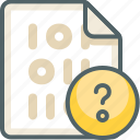 binary, extension, file, help, information, question, support icon