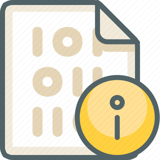 binary, extension, file, format, help, info, information icon