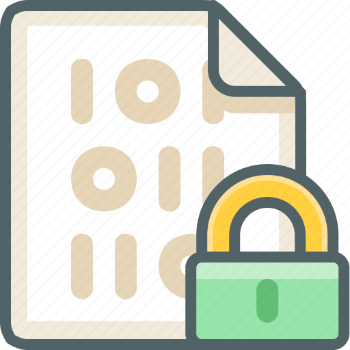 binary, extension, file, lock, protection, safety, security icon