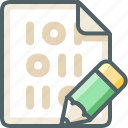 binary, edit, extension, file, pen, pencil, write icon