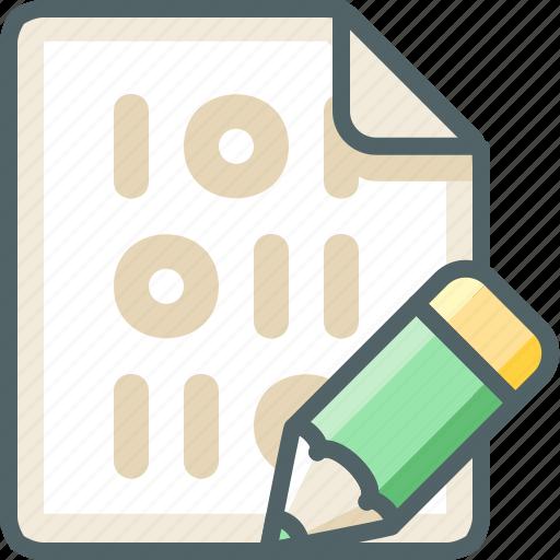 binary, edit, extension, file, pen, pencil, write icon