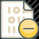 binary, file, remove, cancel, close, extension, delete icon