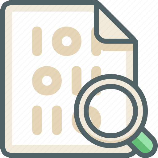 binary, extension, file, glass, magnifier, search, zoom icon