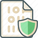binary, extension, file, protection, safety, security, shield icon