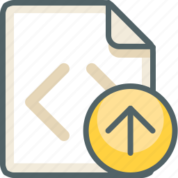 arrow, code, extension, file, format, up, upload icon