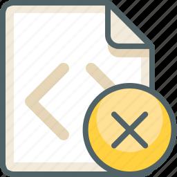 close, code, delete, extension, file, format, remove icon