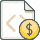 cash, code, currency, dollar, file, finance, money icon